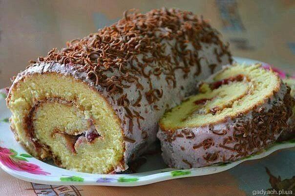 Торт бисквитных рулетов рецепт фото