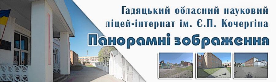Проглянути панорамні зображення Гадяцького обласного наукового ліцею-інтернату II-III ступенів імені Є.П. Кочергіна.